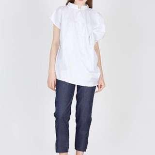 Ribbon Drape Top Big Size - White