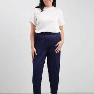 Rova Pleated Harem Pants Big Size - Navy