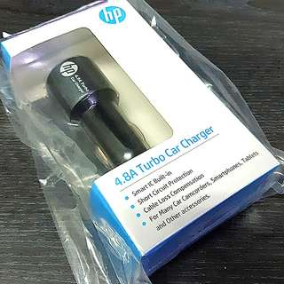 「原廠配件全新未使用」車用充電器 HP4.8A Turbo Car Charger 雙USB