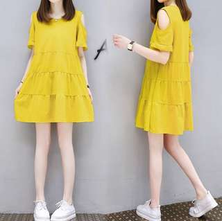 Yellow cold shoulder dress bnwt