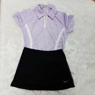 Class-A Nike Sports Bundle Violet Lavender Dry Fit Collared Top and Black Skirt