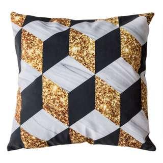北歐風藝大理石奢華黑金 短毛絨雙面環保熱燙印沙發抱枕靠墊