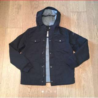 A&F Abercrombie and Fitch Black Coat Jacket with grey hood