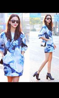 Marble Prints Ocean Blue Shift Dress With Pockets