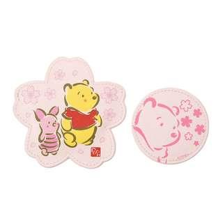 日本 Disney Store 直送 Winnie the Pooh & Piglet 小熊維尼豬仔 Sakura 櫻花系列隨身化妝鏡連櫻花形鏡套