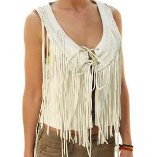 True Religion Braided Leather Fringe Vest(REDUCED)