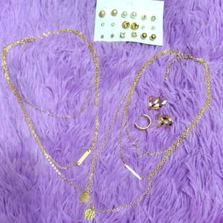 BNEW Bundle Gold Necklace, Rings and Earrings