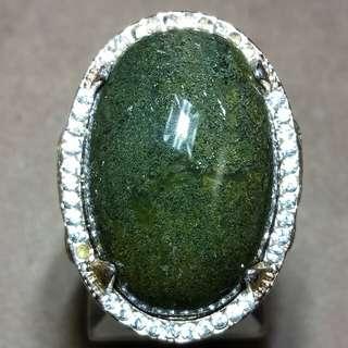 Cincin Batu Akik Ijo Lumut Garut Lawas 3cm