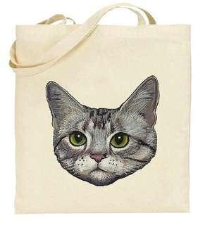 貓咪 cat 喵星人帆布包 原創獨立文藝複古環保購物布袋 * 最後一件
