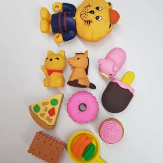 Assorted toys and cute erasers to bless