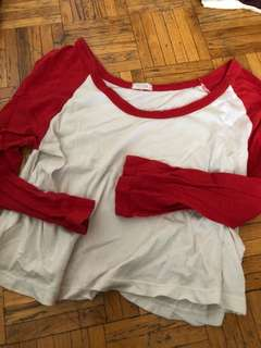 Brandy Melville red baseball tee crop