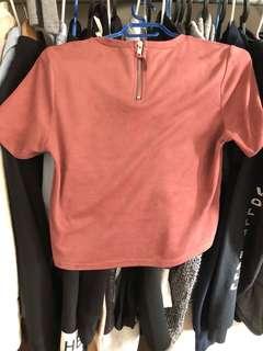 Pink Zara suede crop shirt