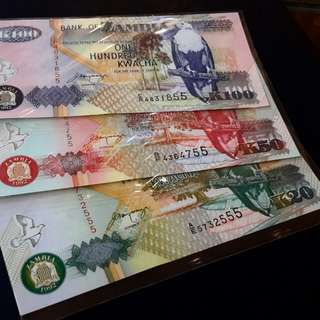 3pcs world bnotes ZAMBIA-for sale,,,