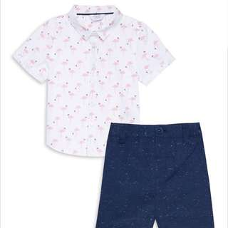 PRIMARK BABY BOY FLAMINGO SHIRT SET