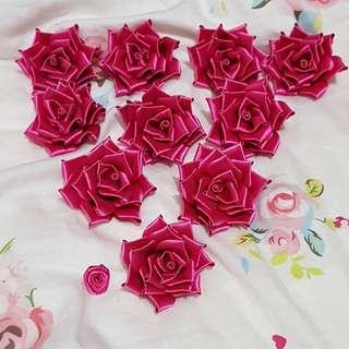Homemade roses pink bandung size M brooch