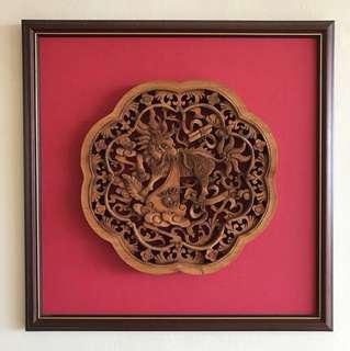 Antique framed up woodwork of a dragon