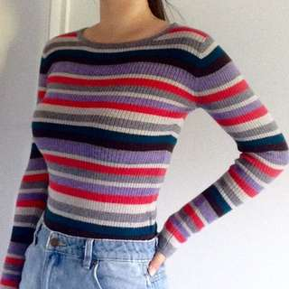 Tight Stripped Colourful Knitted Vintage Jumper