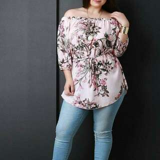 Offshoulder Waisted String Plus Size Blouse