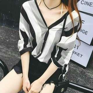 Black Color Stripe Polo Shirt