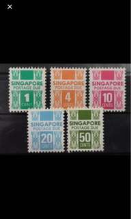 Singapore postage due 1980s stamp Set Mint MNH
