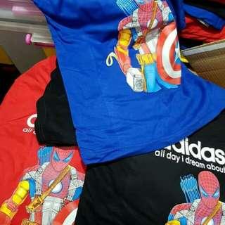 Superhero Adidas t-shirt varieties sizes and colours