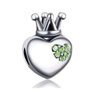 Crown Heart Green Charm