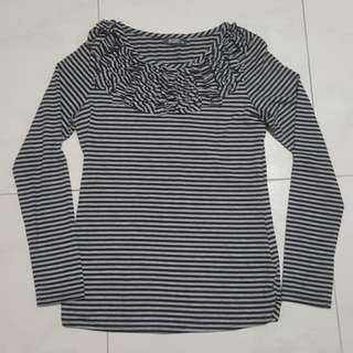[CLEARANCE] Wanko Black and white Striped Long Sleeve Top
