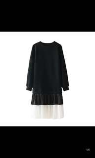 European style solid color casual sweater hem pleated organ stitching dress