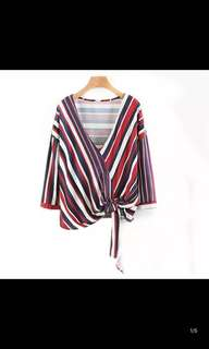 European and American style stripes printed folds hem band loose knit shirt women