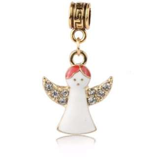White Angel Gold Charm