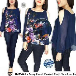 INC Navy Floral Pleated Cold Shoulder Top