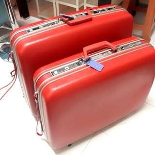 ECHOLAC薔薇紅色復古行李箱 嫁妝箱(硬殼)大小各一