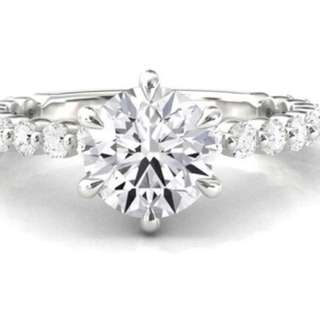 Solitaire Diamond ring on diamond band