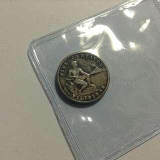1941 5 Centavos US Philippines (Rare Date)