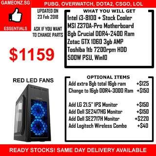 GAMING PC DESKTOP RIG CHEAP AFFORDABLE I3-8100  8GB 1TB HDD GTX 1060 3GB NVIDIA GEFORCE GTX1060