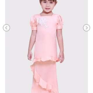 Lyra Lace Kurung Kids in Peach
