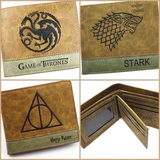 HARRY POTTER AND GAME OF THRONES LEATHER WALLETS