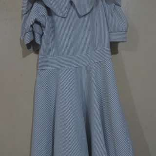 White Pinstrip Collared Dress
