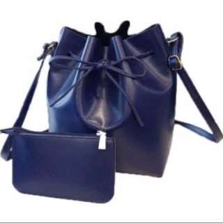 BN Navy bucket sling bag and purse set