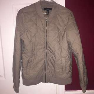 F21 QUILTED GREY BOMBER