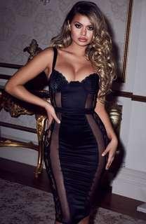 Black lace bustier dress