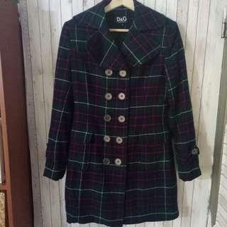 🚚 近全新現貨 少穿 D&G 義大利米蘭精品 蘇格蘭格紋 翻領排扣 羊毛大衣外套