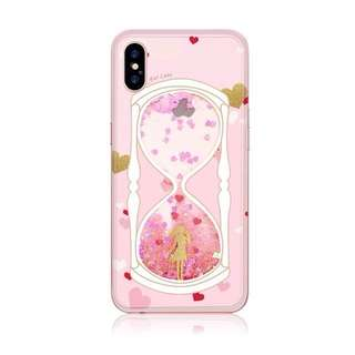 iPhone X Cute Girly Pink Liquid Glitter Soft Case (Sand Clock)