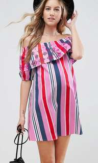 ASOS Maternity Off Shoulder Stripe Dress with Embroidery