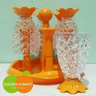 Gelas Nanas Set Golden Sunkist