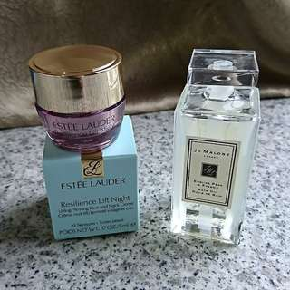 Jo malone english pear bath oil and new estee lauder resilience lift night
