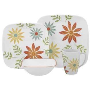 Corelle glass dinnerware square 16pcs set. Happy day