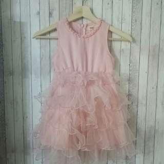 全新現貨 韓國直送 粉橘色網紗裙 無袖背心裙 童裝 #旺旺一路發