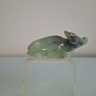 Vintage Jade stone carving water buffalo height 6cm length 14cm perfect condition