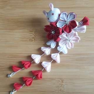 🚚 手工製作和風日式髮飾櫻花玉兔流蘇